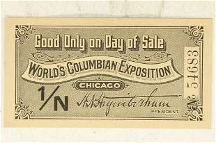 1893 WORLD'S COLUMBIAN EXPO, CHICAGO ENTRY TICKET