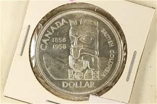 1958 CANADA TOTEM POLE SILVER DOLLAR BRILLIANT UNC