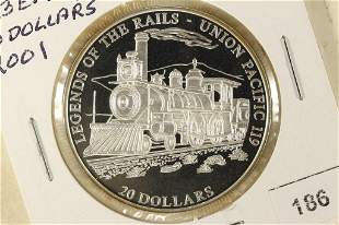 2001 LIBERIA SILVER PROOF $20 LEGENDS OF THE RAILS