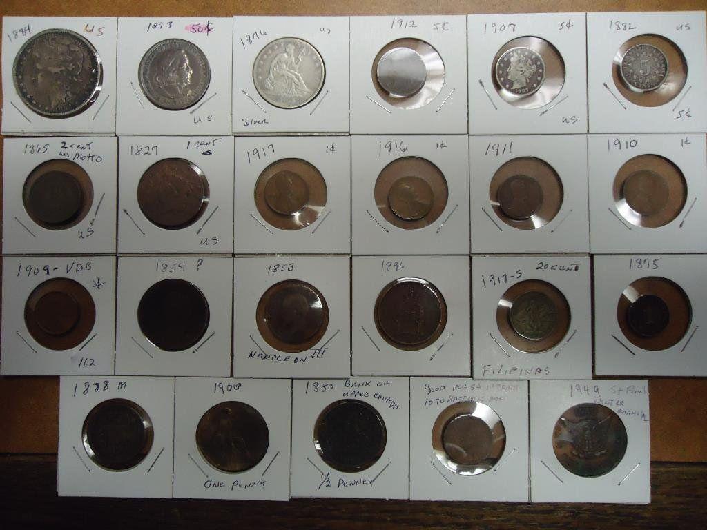 SUPER LOT OF 23 COINS SEE DESCRIPTION US: 1884 MORGAN