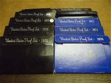 DECADE RUN OF US PROOF SETS WITH BOXES 19701979
