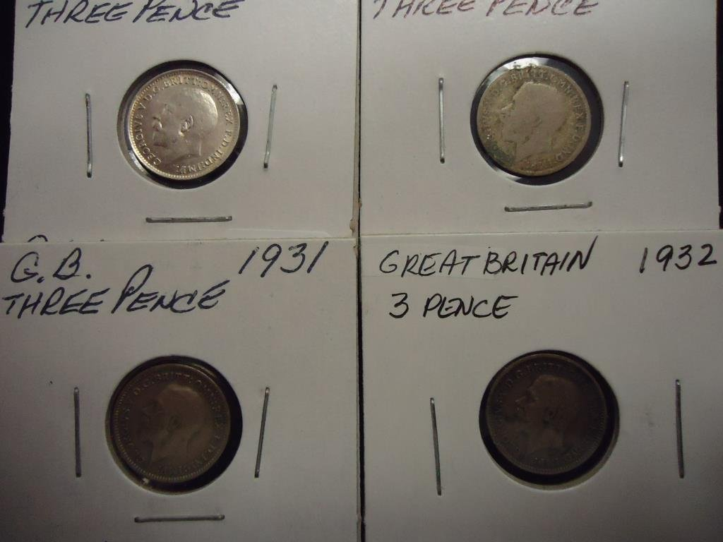 1920,22,31 & 32 GREAT BRITAIN SILVER 3 PENCE