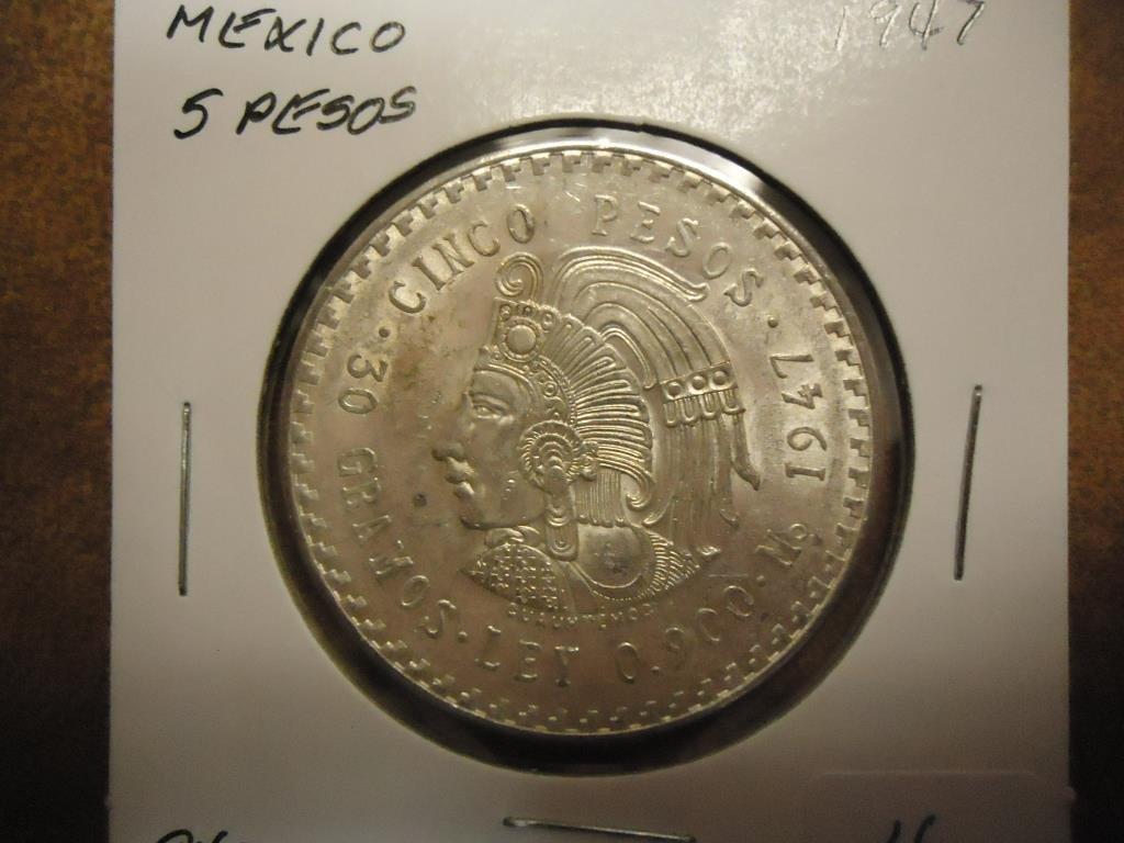 1947 MEXICO SILVER 5 PESOS UNC .8680 OZ. ASW