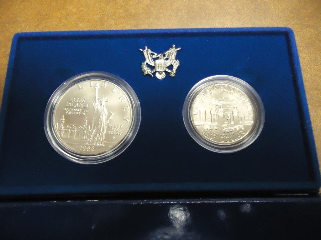 1886 STATUE OF LIBERTY 2 COIN UNC SET ORIGINAL US MINT
