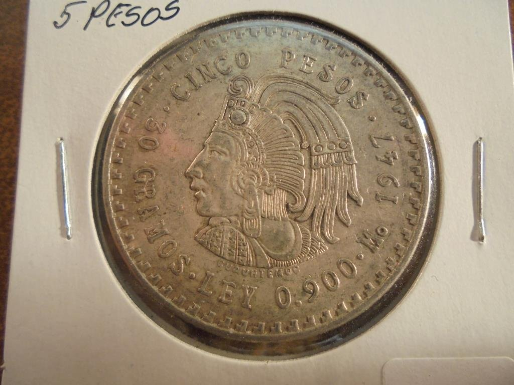 1947 MEXICO SILVER 5 PESOS .8680 OZ. ASW