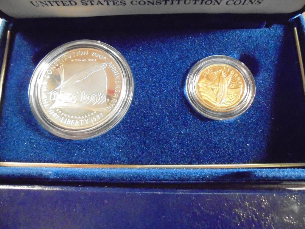 1987 US CONSTITUTION GOLD & SILVER SET PROOF 1987-W $5