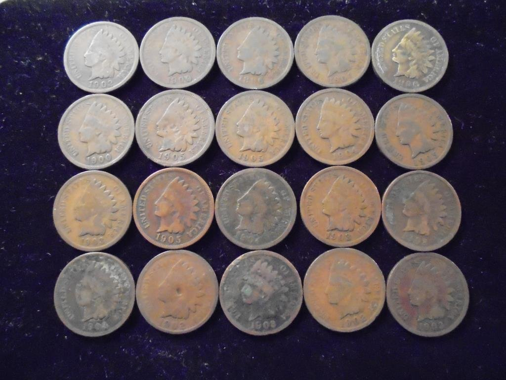 20 ASSORTED 1900'S INDIAN HEAD CENTS