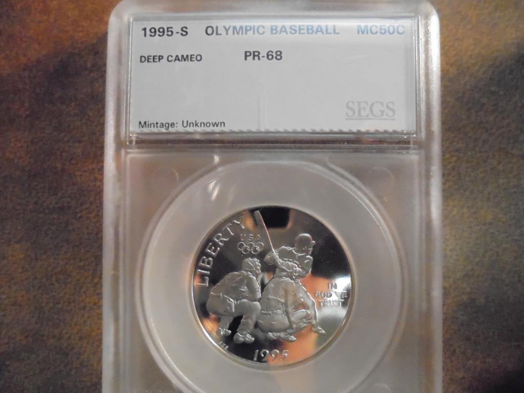 1995-S OLYMPIC BASEBALL HALF DOLLAR SEGS PR68 DEEP