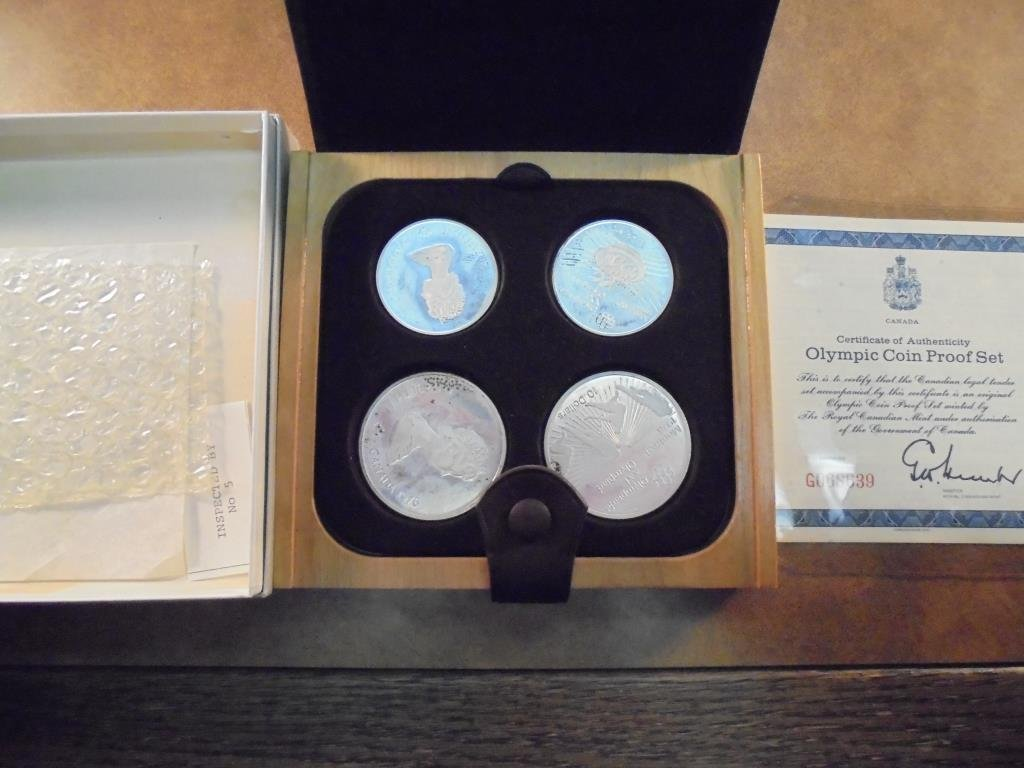 1976 CANADA OLYMPICS 4 COIN SILVER PF SET 2-$5 AND