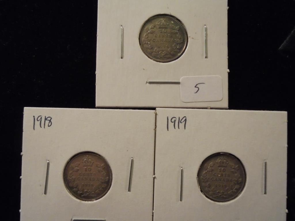 1916,18 & 19 CANADA SILVER 10 CENTS