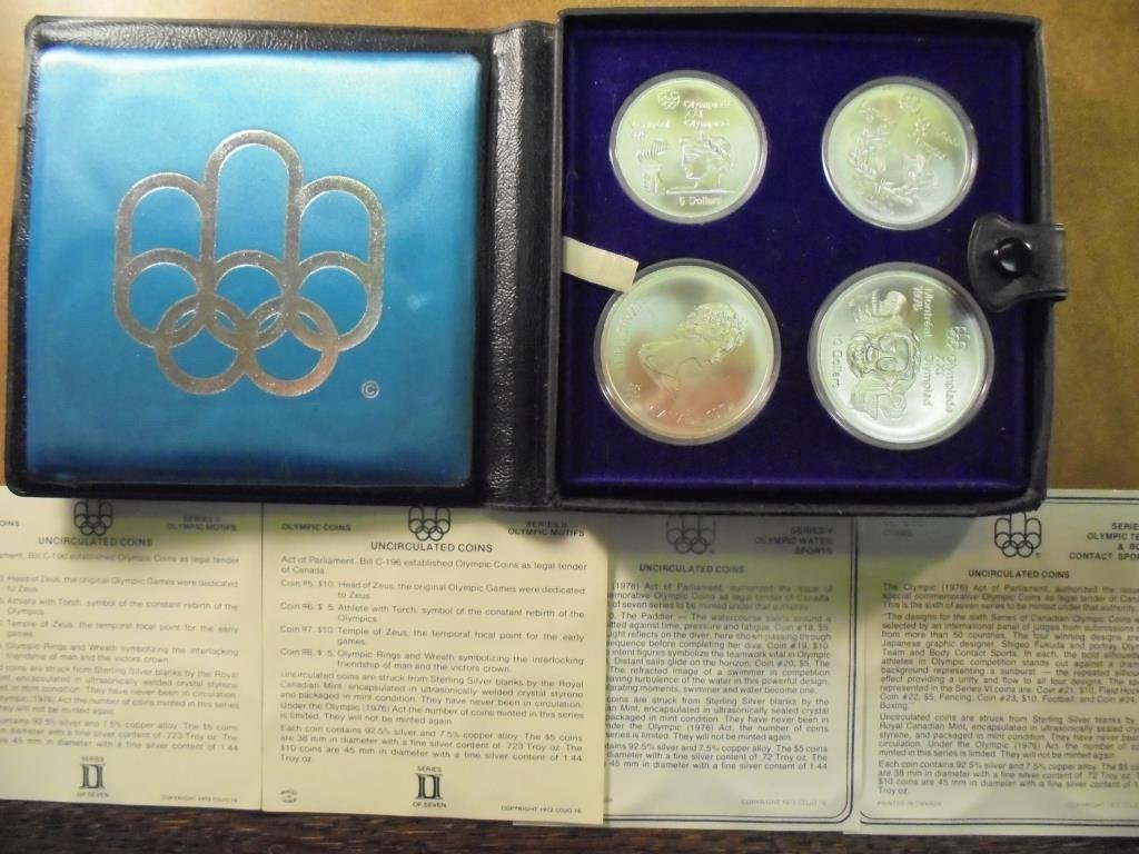 1976 CANADA MONTREAL OLYMPICS 4 COIN SILVER UNC SET,