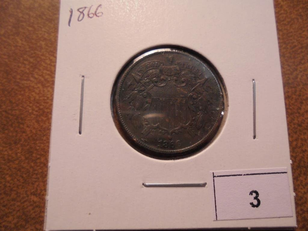1866 US TWO CENT PIECE EXTRA FINE