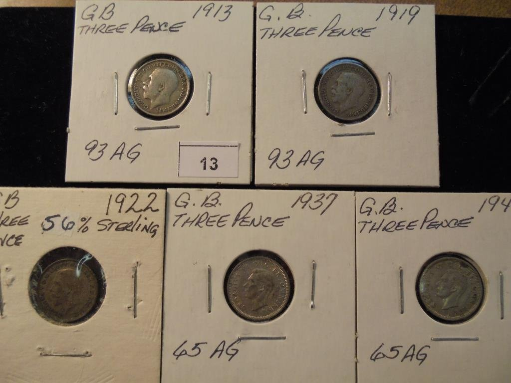 1913,19,22,37 & 41 GREAT BRITAIN SILVER 3 PENCE