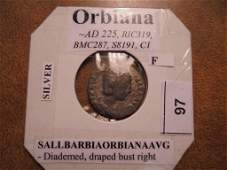 225 AD ORBIANA SILVER ANCIENT COIN FINE