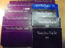DECADE RUN OF 1980S US PROOF SETS WITH BOXES