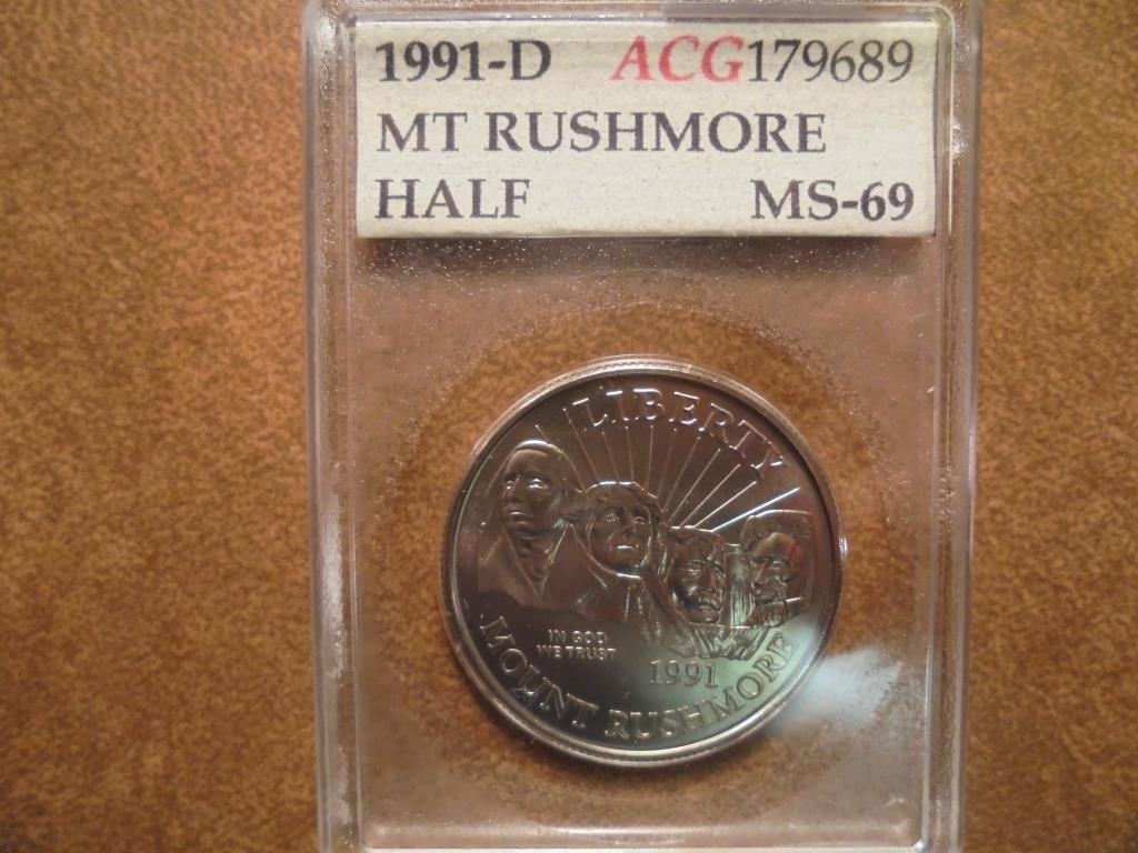 1991-D MT. RUSHMORE HALF DOLLAR ACG SLAB