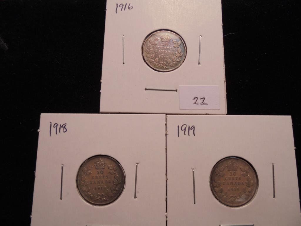 1916,18 & 19 CANADA SILVER 10 CENTS
