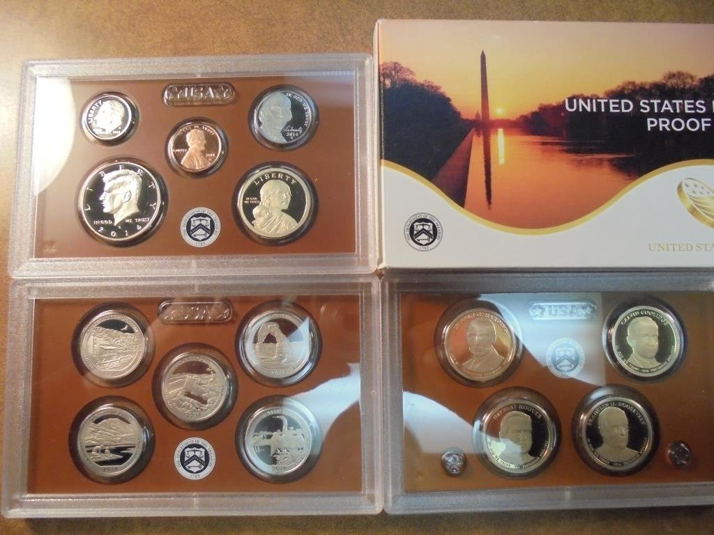 2014 US PROOF SET 14 PIECES INCLUDES PRESIDENTIAL