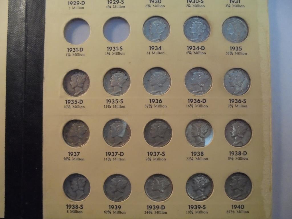 PARTIAL ALBUM 1916-1945 MERCURY SILVER DIMES 38 COINS,