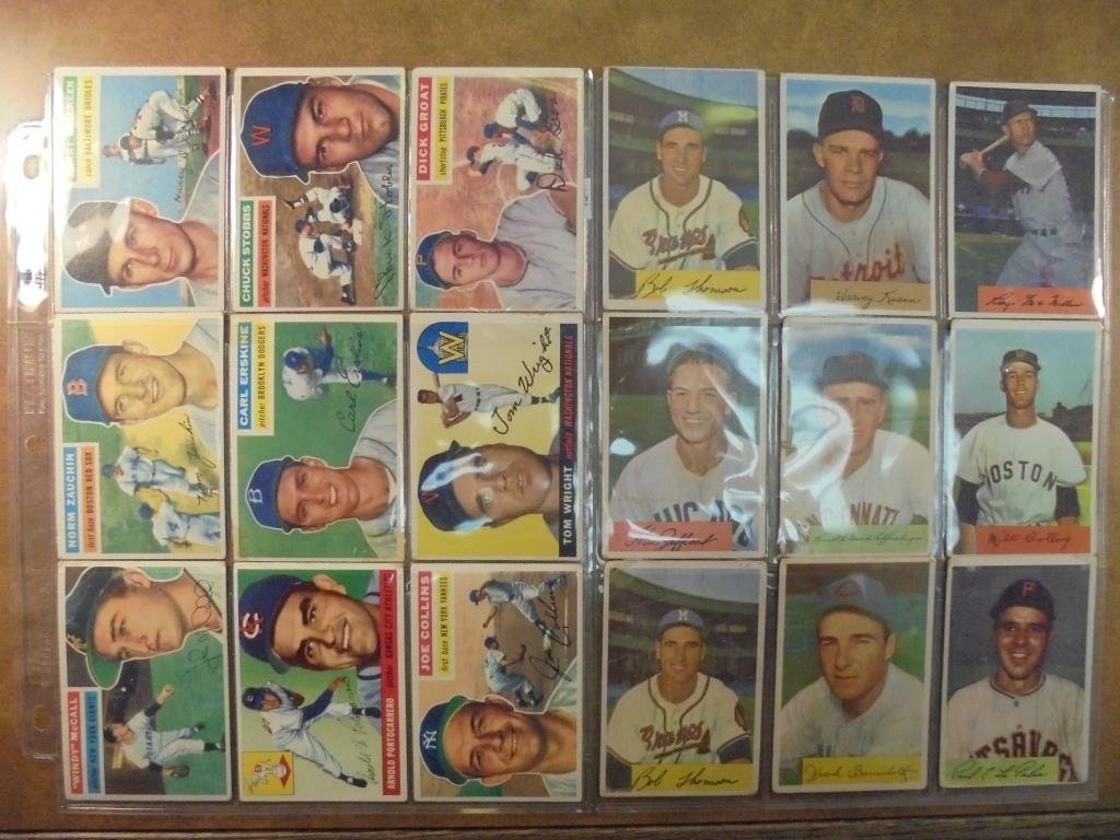9-1954 BOWMAN AND 9-1956 TOPPS BASEBALL CARDS 1954