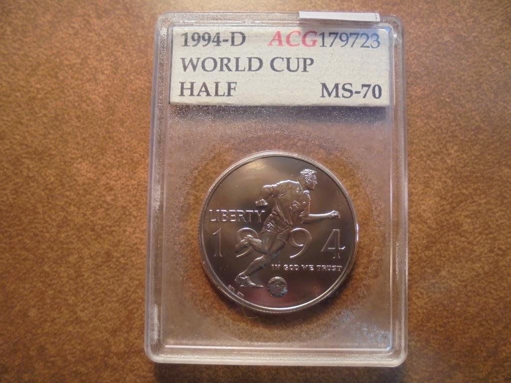 1994-D WORLD CUP HALF DOLLAR UNC ACG SLAB