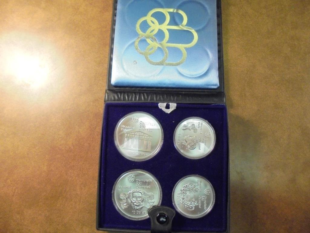 1976 CANADA OLYMPIC 4 COIN SILVER UNC SET CONTAINS: