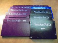1980S DECADE RUN OF US PROOF SETS WITH BOXES