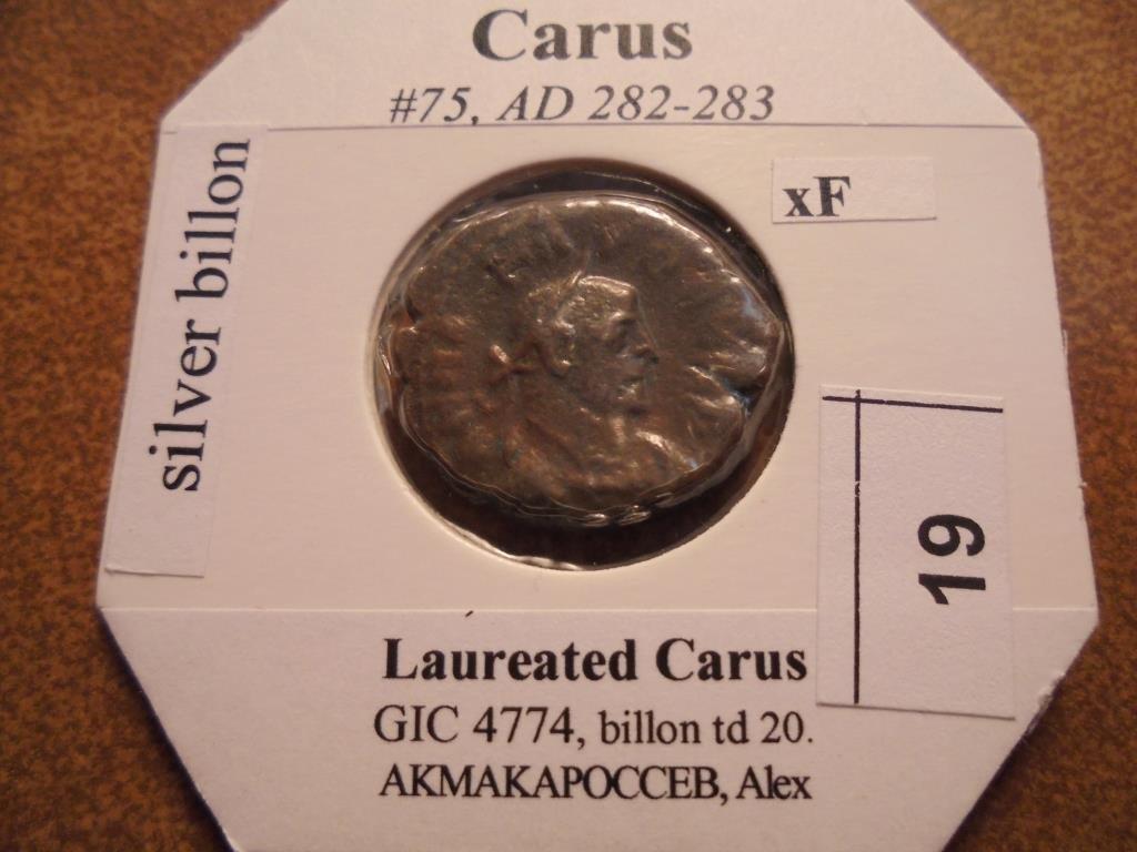 SILVER BILLON 282-283 A.D. CARUS ANCIENT COIN XF