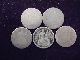 1853, 53, 54, 56 & 1856 Seated Liberty Dimes