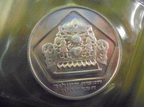 1975 Israel Silver 10 Lirot Proof Hanukka Coin Original