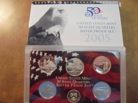 2005 Silver Us 50 State Quarters Proof Set Withbox