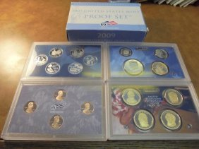 2009 Us Proof Set (with Box) 18 Pieces Includes