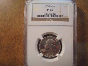 1956 Washington Silver Quarter Ngc Pf66