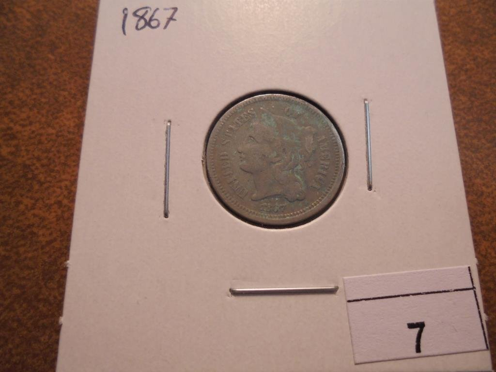1867 THREE CENT PIECE (NICKEL) WITH VIRDIGRIS