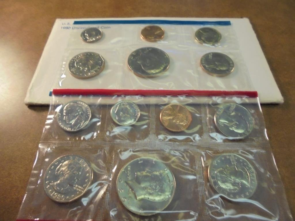 1980 US MINT SET (UNC) P/D/S (WITH ENVELOPE) THIS IS AN