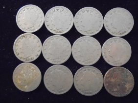 """12 Assorted 1900's Liberty """"v"""" Nickels"""