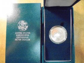 1990-w Eisenhower Centennial Silver Dollar Unc,