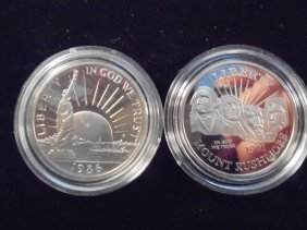 1986-s Statue Of Liberty & 1991-s Mt. Rushmore Proof