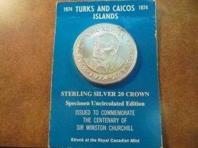 1974 Turks & Caicos Islands Sterling Silver 20 Crown,