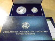 1997 JACKIE ROBINSON GOLD & SILVER 2 COIN PROOF SET,
