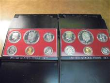 1975  1976 US PROOF SETS WITH BOXES
