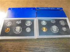 1971  1972 US PROOF SETS WITH BOXES