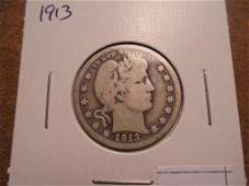 1913 BARBER QUARTER BETTER DATE COIN VERY GOOD