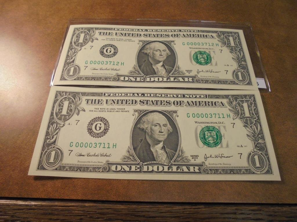 2-2003-A $1 FRN'S LOW CONSECUTIVE SERIAL 'S UNC SERIAL