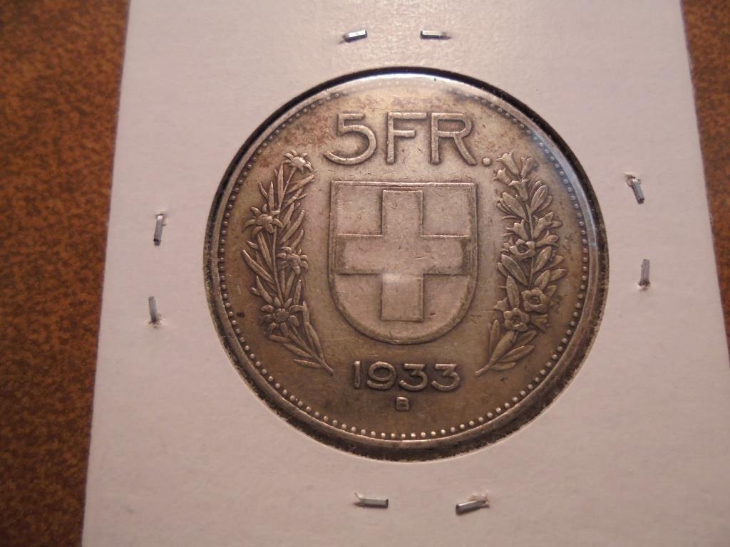 1933-B SWITZERLAND SILVER 5 FRANC .4027 OZ. ASW
