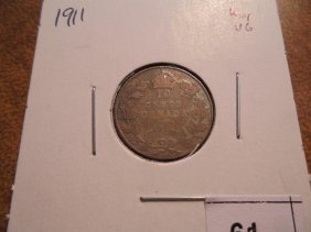 1911 Canada Silver 10 Cents Key Date
