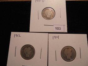 1911-d,12 & 14 Barber Dimes