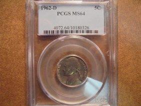 1962-d Jefferson Nickel Pcgs Ms64
