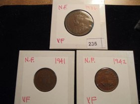 Newfoundland 1936 Large Cent & 1941 & 42 Small Cents
