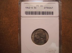 1942-s 35% Silver Jefferson War Nickel Anacs Ms64